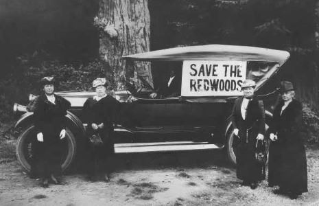 'Save the Redwoods' banner on a horseless carriage, and four stout supporters stand by.