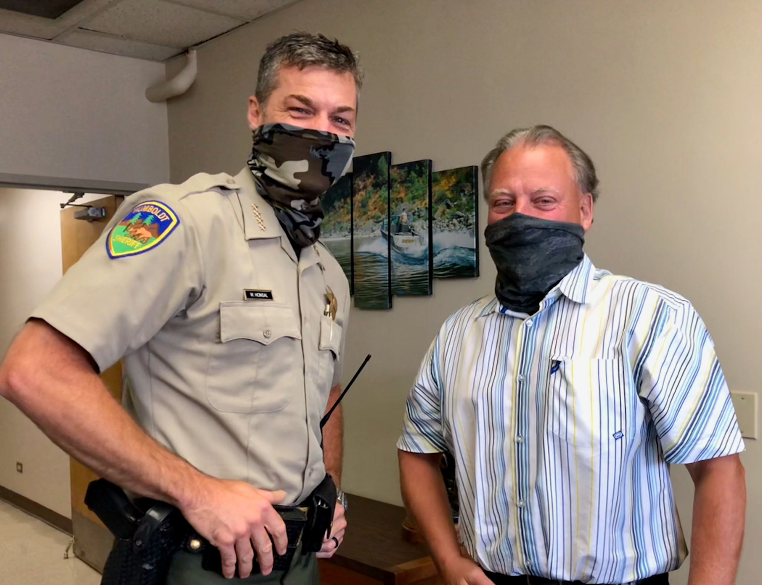 Sheriff Honsal takes a photo with new Lost coast Resident Deputy Tom Allman