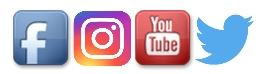 Facebook, Instagram, YouTube & Twitter icons