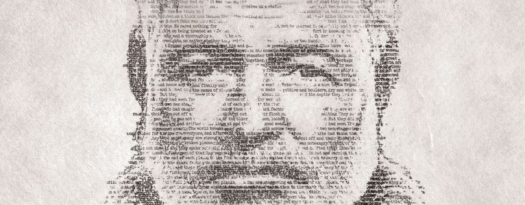 A portrait of Hemingway made up of shades of text, words fading to reveal features.