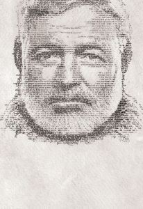 Hemingway's face is drawn in words using shades of text.