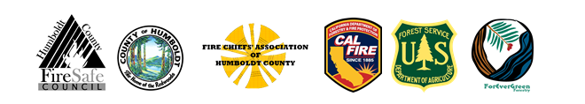 Logos for Humboldt County Fire Safe Council, County of Humboldt, Fire Chiefs' Association, CAL FI