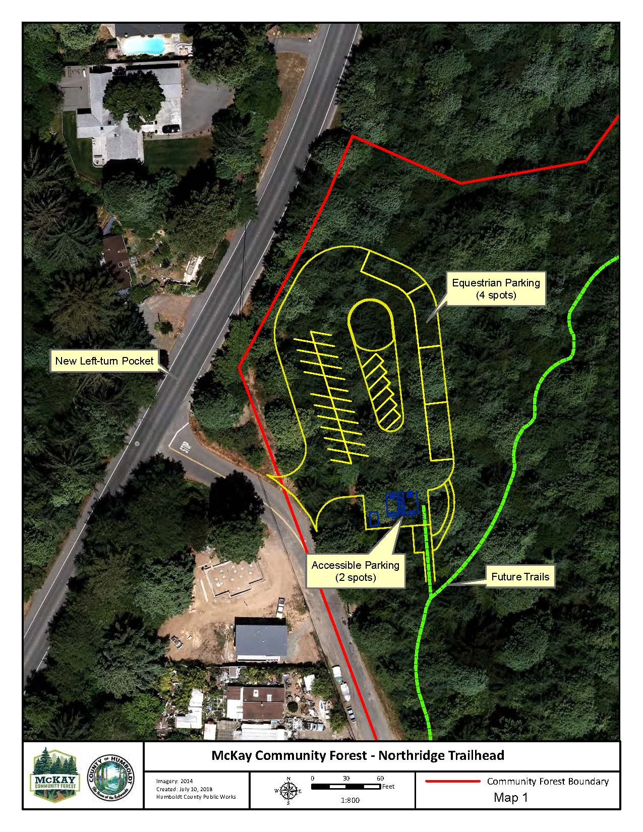 McKay Community Forest Map showing drawing of future parking lot off Walnut Drive with equestrian pa