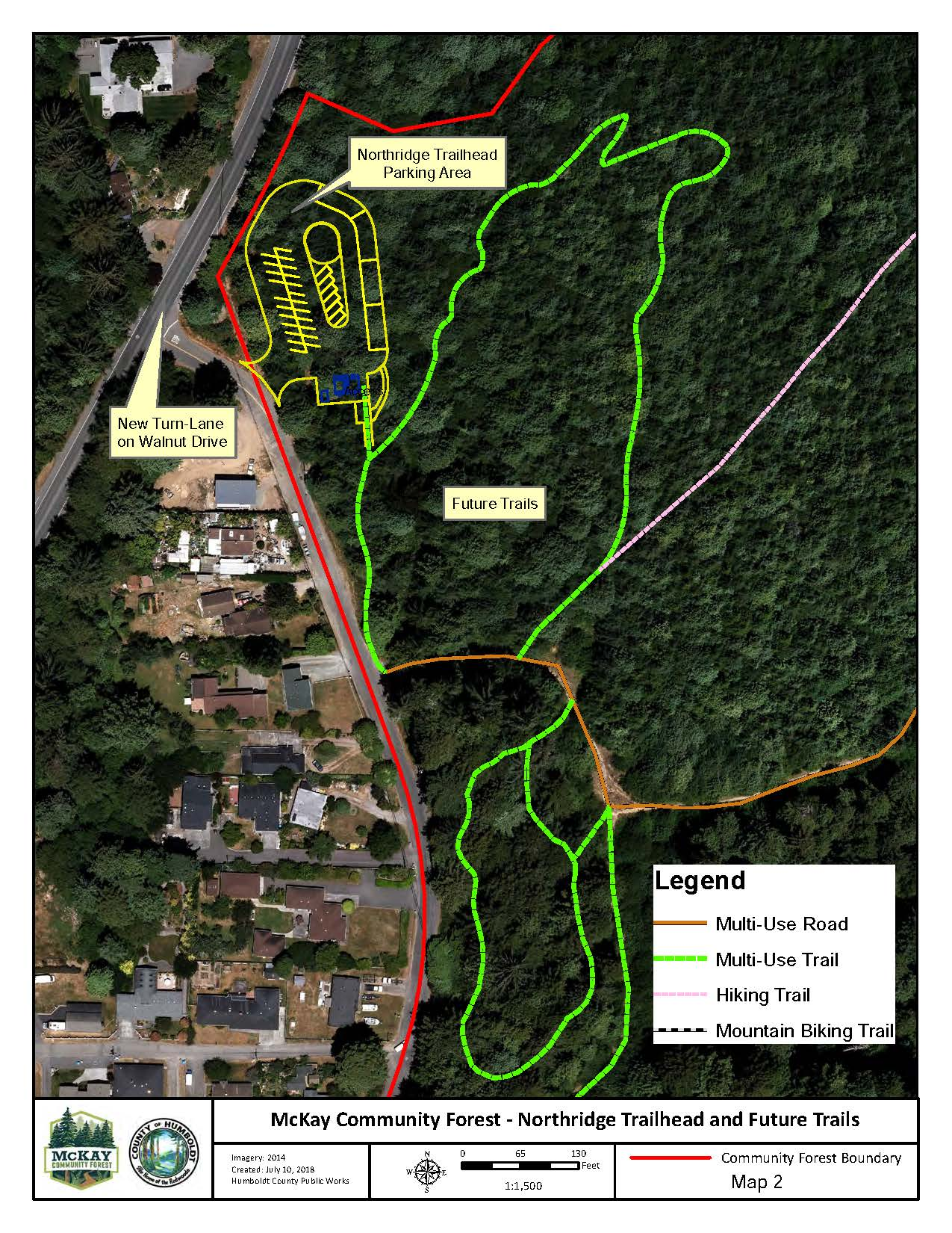 McKay Community Forest Map showing drawing of future parking lot off Walnut Drive and future trails