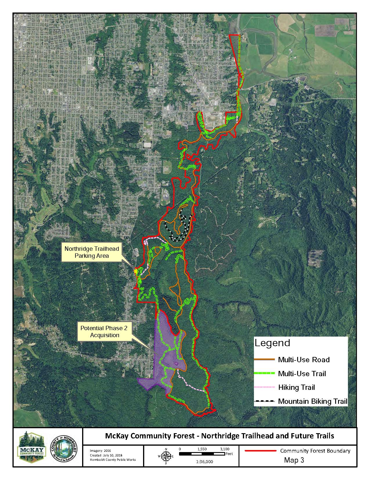 McKay Community Forest Map showing all future trails, including a mountain biking trail, as well as