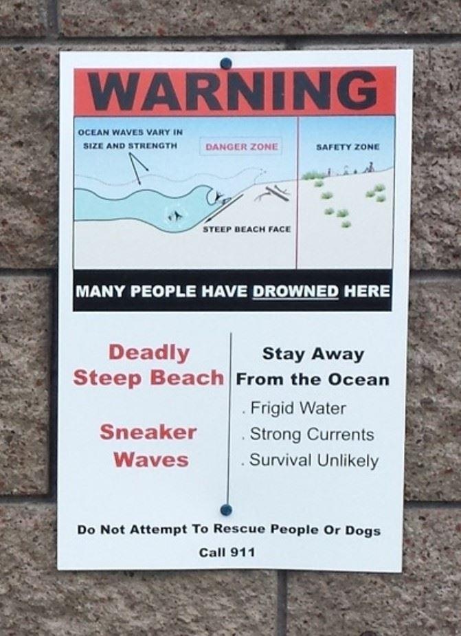 Big Lagoon Sign posted on bathroom
