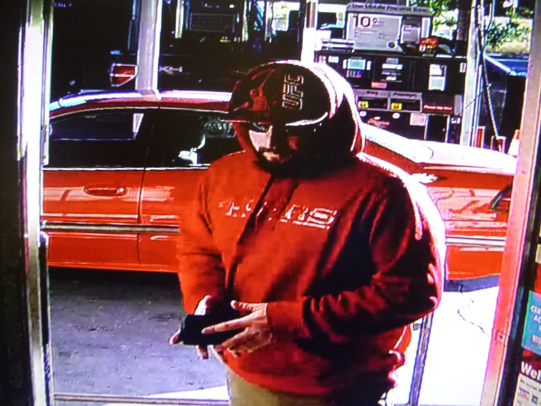 Photo one of the suspect, a white male adult, in his mid to late 30's, approximately 5 feet 10 inche