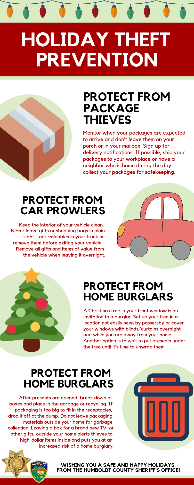 Holiday Safety Tips (all information on this image is in the article text)