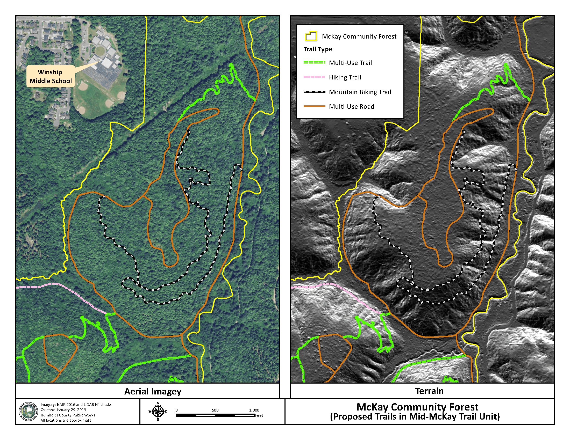 Map showing potential trails in the McKay Forest