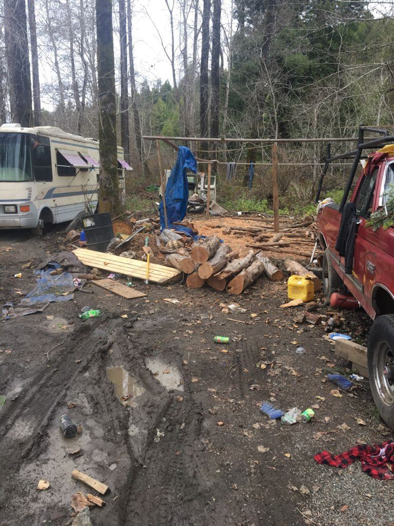 Lumber pile located near RV's during the service of a search warrant