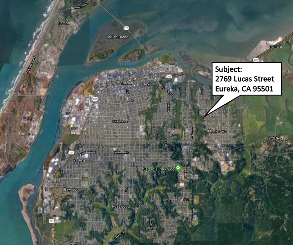 Map Showing Lucas Street Property in Relation to entire Eureka Area