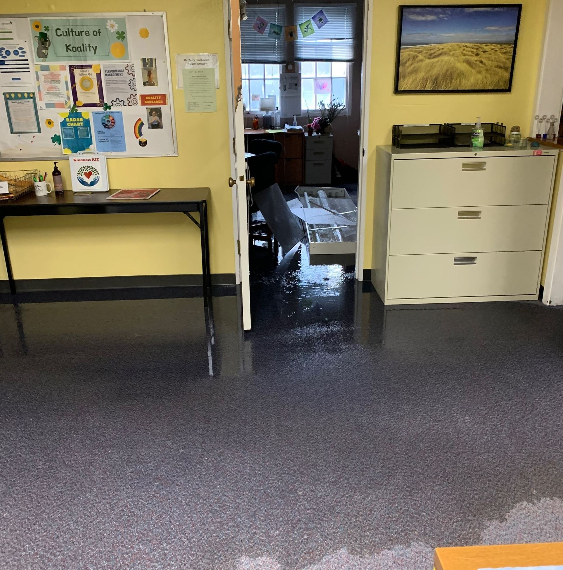 Debris, flooded carpet and room of County Health Officer's office.