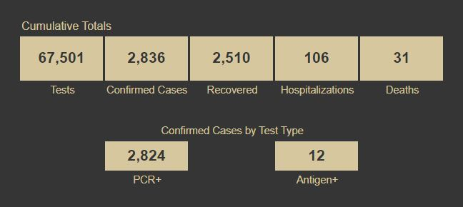 Confirmed Cases by Test Type Screenshot