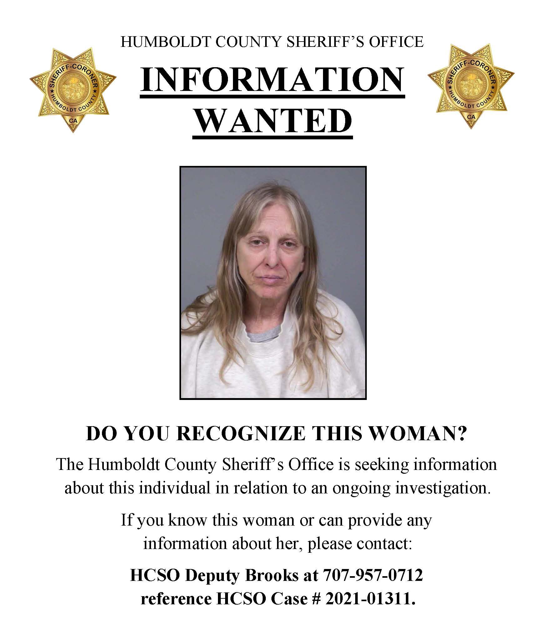 DO YOU RECOGNIZE THIS WOMAN?  The Humboldt County Sheriff's Office is seeking information