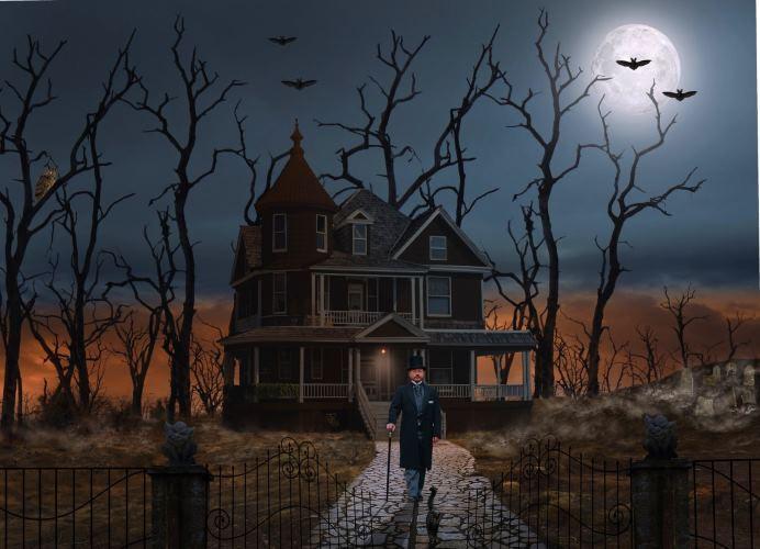 A dark night, a full moon, a black cat, haunted house, mist, graveyard, man in top hat.