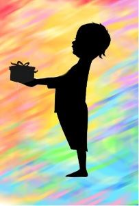 Image, a young child offers a package.