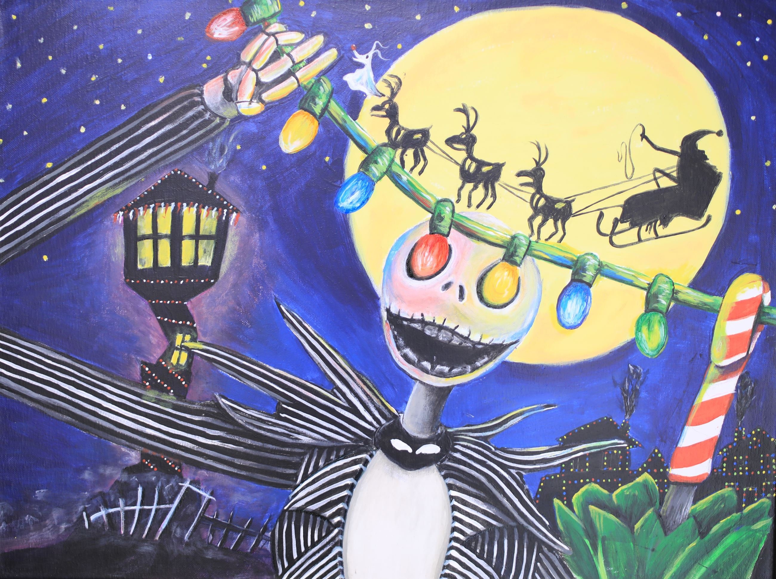 Nightmare Before Christmas character holding lights in front of the moon