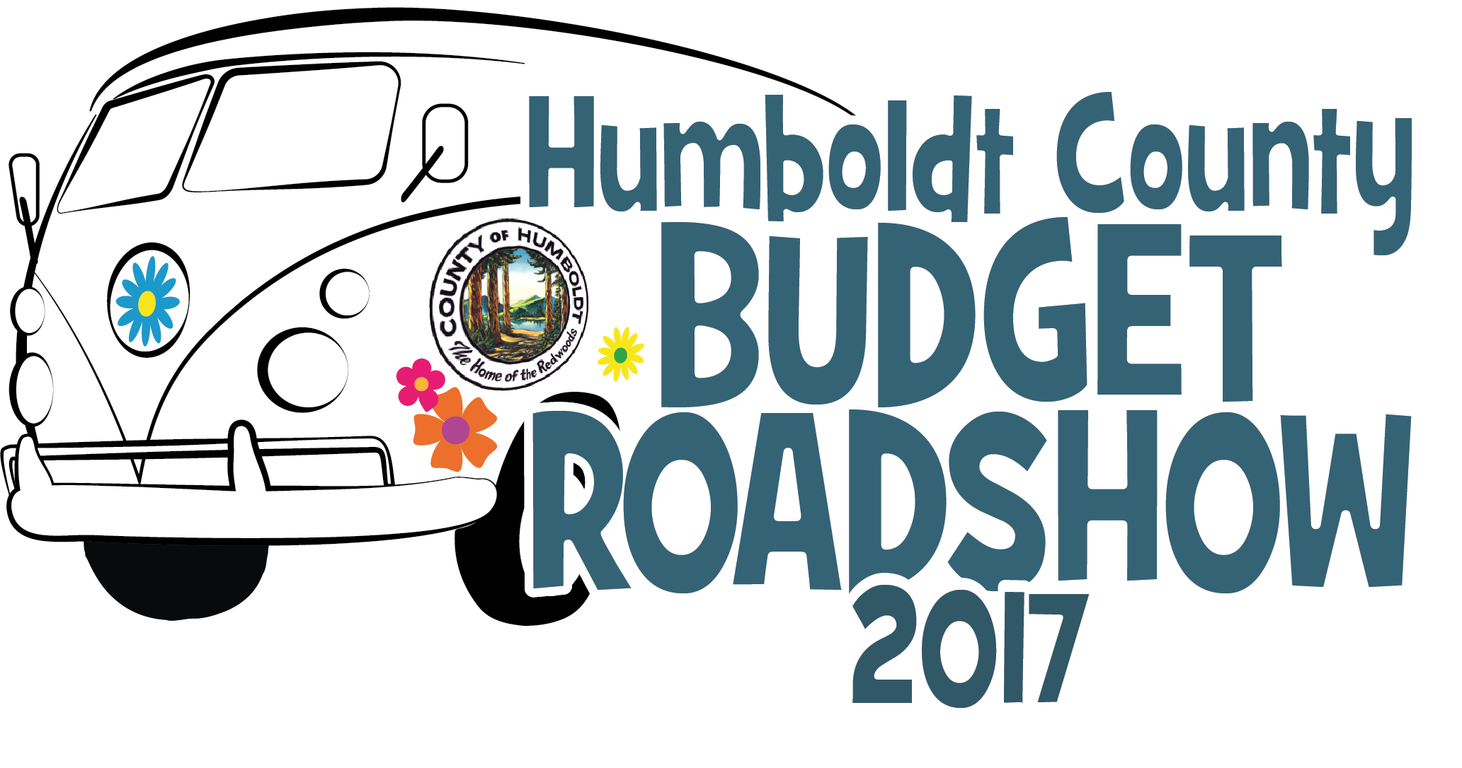 Van with text reading Humboldt County Budget Roadshow 2017